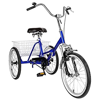 MAD HORNETS Adult Folding Tricycle Bike 3 Wheeler Bicycle Portable Tricycle 20  Wheels Blue