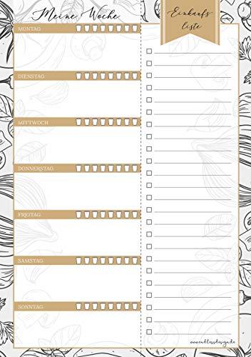 Wochenplaner Block – 50 Blatt, Format A5, Gold/Grau, Essensplaner mit abtrennbarer Einkaufsliste und/oder Notizblock für kleinere tägliche ToDo's