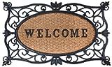 Esschert Design - Zerbino in gomma a lavorazione artistica, inserto centrale in fibre di cocco decorato con scritta 'Welcome', da circa 75 x 45 cm, colore: Nero/Naturale cocco