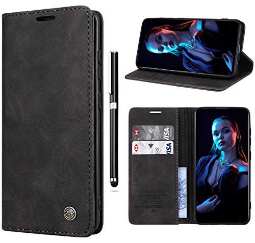 Paitech Handyhülle für Samsung A20S Hülle Flip Hülle Schutzhülle Wallet Handyhülle Tasche für Samsung Galaxy A20S Magnetic Closure Klapphülle Cover mit Kartenfach, Standfunktion - Schwarz