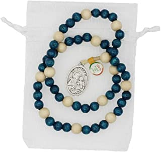 Christian Living St Joseph 9-inch Chaplet Rosary with Teal Blue and Crème Wood Beads