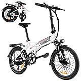 E-Bike City Efahrrad 250W Elektrofahrrad 26/20 Zoll Elektrokreuzer/Elektrofahrrad mit Abnehmbarer 8Ah LithiumIonen Batterie, Shimano 7-Gang (20 Zoll Klapprad Ebike Weiß)
