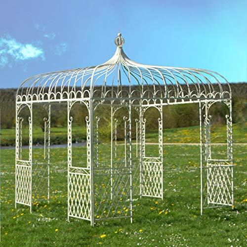 L'ORIGINALE DECO Grande Tonnelle Carrée Fer Jardin Grande Gloriette Pergola Fer Jardin Blanche 280 cm x 280 cm x 300 cm