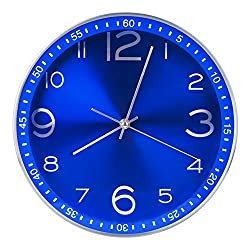 Egundo Blue Wall Clock Battery Operated 12 Inch Decorative,Silent Non Ticking Quartz Analog Metal Large Number Round Quiet Clocks,Home Decor Bright Color Clock for Living Room Bedroom Kitchen Office