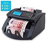 Stückzahlzähler Geldzählmaschine Geldzähler Euro SR-3750 LCD UV/MG/IR von Securina24 (Schwarz - LCD)