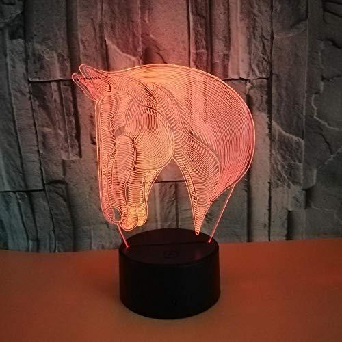 Luz De Noche De 3D, interruptor de color de luz de ilusión 3D con control remoto,para la sala de estar, bar, juguetes, regalos para niñosCabeza de caballo