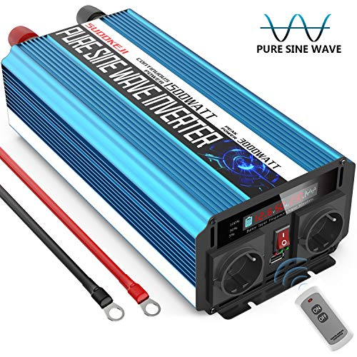 SUDOKEJI Wechselrichter Reiner Sinus 1500 3000W Spannungswandler 12V 230V Spannungswandler mit Fernbedienung 2.4A USB und LED-Anzeige Pure sine Wave Inverter