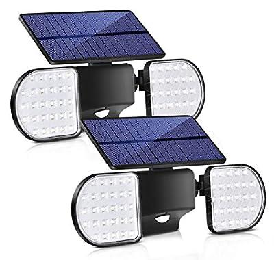 Bebrant Solar Lights Outdoor, 56 LED Motion Sensor Security Lights IP65 Waterproof Solar Flood Lights 360° Adjustable Double-Head Spotlights for Front Door Garden Yard Patio (2 Pack)