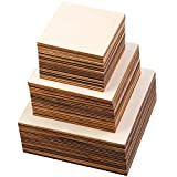 Ruisita 60 Pieces Unfinished Square Wood Pieces 3 Size Blank Wood Slices