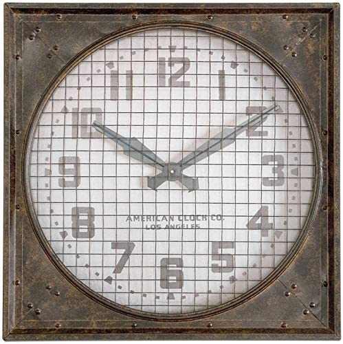 wholesale Uttermost sale 06083 Warehouse Wall online sale Clock Grill, Brown/White outlet sale