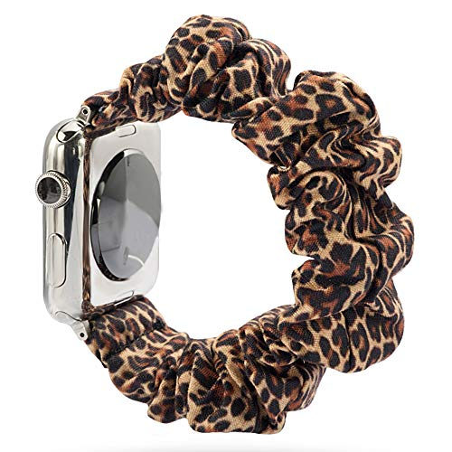 Juanxian Scrunchie - Correa elástica de repuesto para Apple Watch, suave y elástica, compatible con iWatch Series1-5 (38 mm/40 mm, 42 mm/44 mm) (leopardo, 42 mm/44 mm)