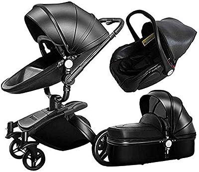 LAL6 Hot Mom 3 En 1 Cochecito Plegable Antichoque De Dos Vías -gz Landscape Hot Mom Four Round Baby Stroller Multi Cot Funciones Combinadas,Black