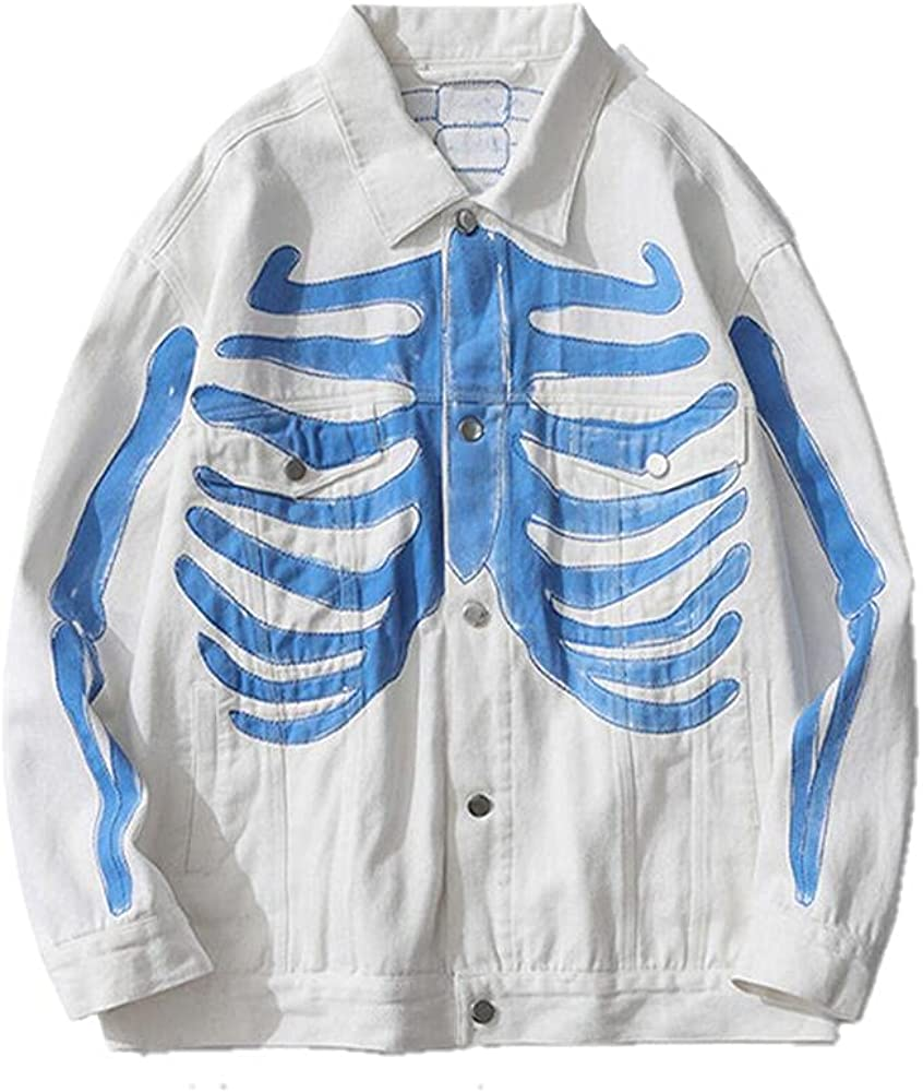 Men's Hip Hop Hand Painted Skull White Store Denim Black Jackets At the price of surprise Coat
