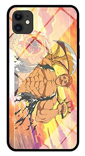 Funda para Teléfono con Imagen Anime Escanor Funda para iPhone con Brillo Nocturno Carcasa Protectora De Cristal Templado Moda Compatible con iPhone 8