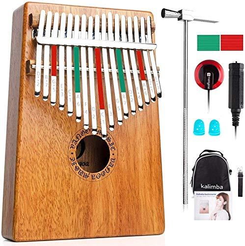 Vangoa Kalimba 17 teclas Piano de Pulgar Marimba de Caoba para principiantes, con recoger, bolsa de transporte, manual de aprendizaje, martillo de afinación