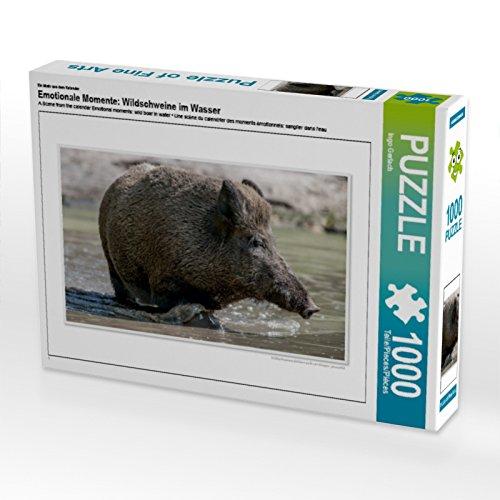 CALVENDO Puzzle Emotionale Momente: Wildschweine im Wasser 1000 Teile Lege-Größe 64 x 48 cm Foto-Puzzle Bild von Ingo Gerlach