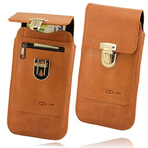OrLine Ledertasche geeignet für Alcatel Idol 3C. Gürteltasche mit Reißverschlusstasche Hülle Etui Tasche Hülle Cover Holster Schutzhülle Handarbeit