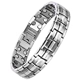 Titanium Magnetic Bracelet,Magnetic Therapy Titanium Magnetic Bracelet for Pain Relief Magnetic Bracelet Men (Silver)