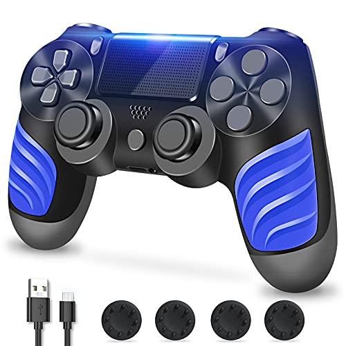 PS4 Controller, Controller Für PS4, Kabelloser Controller mit Dual Vibration, Stereo Kopfhöreranschluss, Touchpad, Sechs Achsen Bewegungssteuerung, kompatibel mit PS4/Slim/Pro-Konsole (Black)