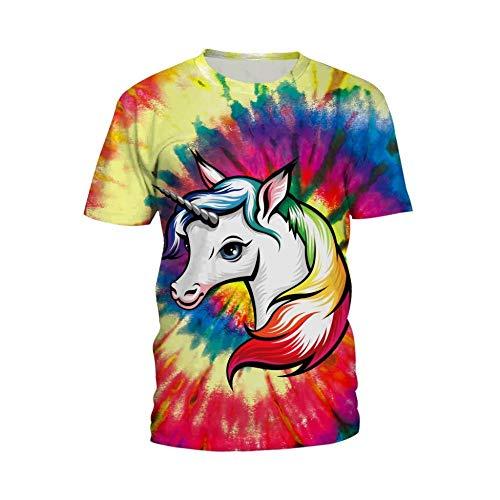 Sunofbeach Unisex 3D Gedrukt T-shirt Zomer Gepersonaliseerde Casual T-shirt met korte mouwen Tops, Kleurrijke Eenhoorn Schilderij