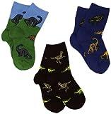 Jefferies Socks Little Boys  3-7 Dino Triple Treat Socks  (Pack of 3), Pine, Small