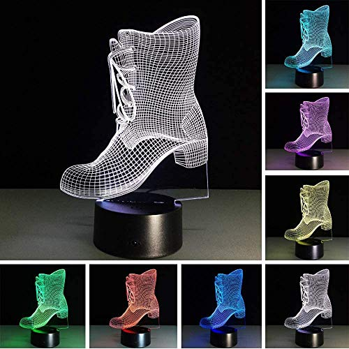 Schuhe 3D Stiefel Led USB Light Night mit Batterie 7 Farbwechsel Home Decoration Weihnachtsgeschenke Spielzeug mit Fernbedienung