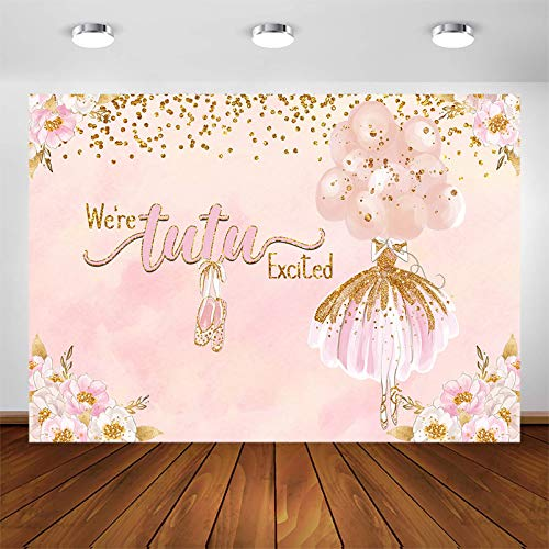 Avezano Tutu Excited Party Backdrop for Baby Shower Party Decorations Blush Pink Glitter Ballerina Tutu Birthday Party Photography Background Photoshoot (7x5ft)
