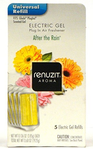 Renuzit Electric Gel Plug in Air Freshener, After the Rain, 0.68 Ounce (Pack of 6) Total 30 Refills