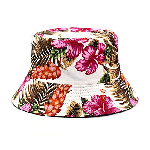 Chapeau Bob Femme Bucket Hats Women Reversible Cotton Fashion Print Fisherman Hat Hat Travel-Pink_56-58Cm
