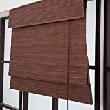 SUNSHADE Woven Wood Roman Shades Roll-up Bamboo Blind Pull Shade Privacy Screen Porch Balcony Pergola Trellis Custom Size