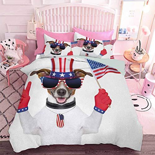Hiiiman Juego de edredón ligero para todas las estaciones, divertido perro con un sombrero de tío Sam con un signo de paz y una bandera estadounidense (3 piezas, tamaño doble) funda de almohada