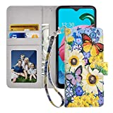MagicSky LG K51 Wallet Case, [Upgrade Cat Eye Texture] PU Leather Flip Folio Case Cover with Strap, Card Holder, Pocket, Kickstand for LG K51/LG Reflect/LG Q51,Butterfly Over Flower