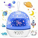 Blovec Star Projector Night Lights for Kids, Kids Projector Lamp 4 Sets of Film Star Sea World Universe Carousel 360° Rotating Projector 8 Colorful Lights Gift for Boys and Girls White