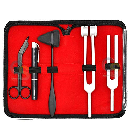 "G.S Reflex Percussion Kit - Set of 5 pcs Taylor Hammer + Penlight + Tuning Fork C 128 C 512 + Bandage Scissors 5.5"" Best Quality"