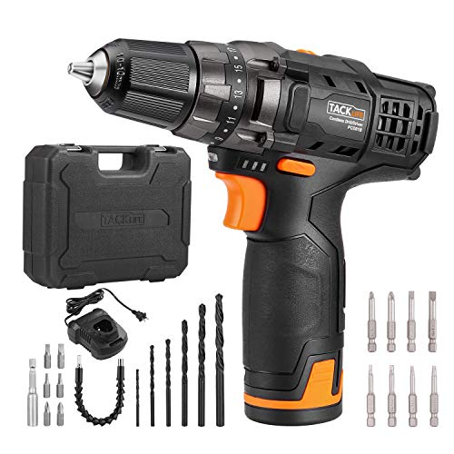 """TACKLIFE 12V Cordless Drill Driver,3/8"""" Metal Chuck,2 Speeds Compact Drill Set with 22pcs Accessories,2000mAh Lithium Battery Pack and 1Hour Fast Charger,PCD01B"""