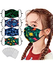 4 pcs Niño 3D Reutilizables 𝐌à𝐬𝐜a𝐫𝐢𝐥𝐥as 8 pcs almohadilla, prueba polv Transpirables con Elástico para Los Oídos Lavable Respiratoria algodón al aire libre