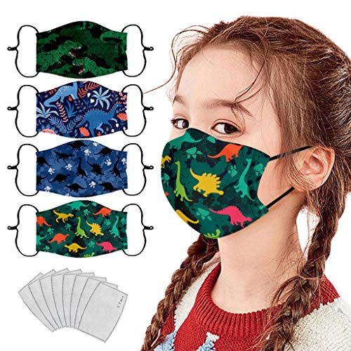 Covermason 4 Pezzi Tessuto Bocca in Cotone + 8×Filtri Carbone Attivo Sportivo - Stampa di Dinosauri - Lavabili Riutilizzabili Antipolvere Visiera Viso per Bambino