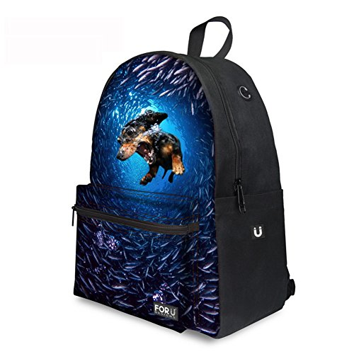 Fräulein Verrückter Unterwasserhund Canvas Mochila Mode Leinwand Mochila Estampada Kinderrucksack Viaje Mochila para Outdoor Camping C030 Talla única