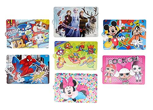 Pack de 7 manteles Individuales Infantiles de Patrulla Canina, Frozen, Spiderman, Mickey Mouse, Minnie Mouse, LOL Surprise y Super Zings - Plásticos Libres de BPA (7 Manteles Mix)