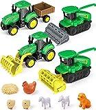GeyiieTOYS Farm World - Set da gioco 4 veicoli Farm con rimorchio, fattoria, carpentiere, ...
