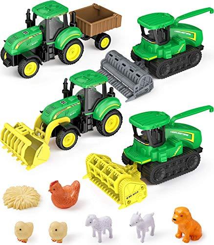 GeyiieTOYS Farm World - Juego de 4 vehículos de granja, tractor con remolque, granja, camión, escarificador, vehículo para animales domésticos, juguete preescolar, 11 piezas a partir de 3 años