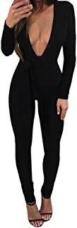 86cc3e234a5d Sunward Women Deep V Neck Long Sleeve Bodycon Jumpsuit Belted Romper Pants