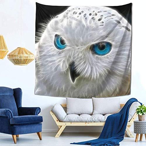 Lsjuee Arte Digitale Gufo Bianco Arazzo Appeso a parete Decorazioni per la casa Fan Art per Camera da letto Soggiorno Dormitorio