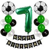 Globo de fútbol para 7º cumpleaños, color verde, decoración para 7 años, decoración para 7 globos de fútbol, guirnalda de cumpleaños