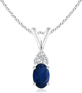 Oval Sapphire Solitaire Pendant with Trio Diamond (6x4mm Blue Sapphire)