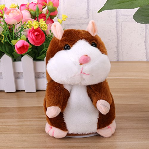 Toyvian Sprechender Hamster lustiges Plüschspielzeug wiederholt Mimikry-Haustierspielzeug elektronische Aufzeichnung gefüllte Tier interaktives Spielzeug für Kinder frühes Lernen Geschenk (Hellbraun)