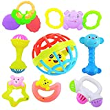 Sky Tech® Rattles and Teether for Babies, Set of 8 Pcs - Colourful