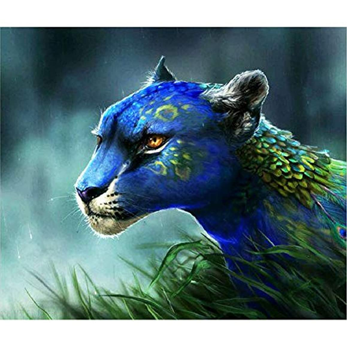 DIY Handwork Store 5D Full Drill Round Diamond Painting Kits Crystal Rhinestones Peacock Leopard Animal Cross Stitch Mosaic Embroidery Arts Crafts Gift Home Wall Decor(20.47''x 17.72'')