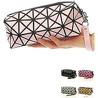 1bolso plegable para mujer, con diseños de rombos, de piel sintética, en forma de cubo, para maquillaje o como bolso de mano rosa Rosa