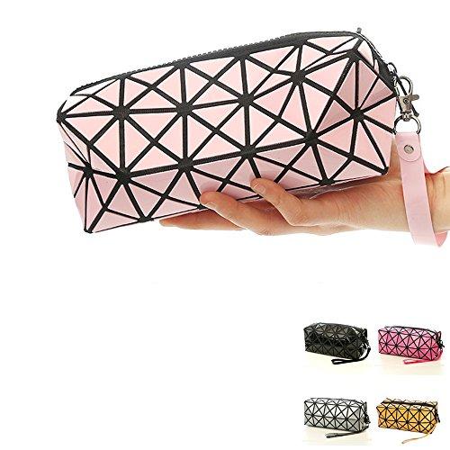 Pink Cosmetic Tote Bag for Makeup, Geometric Foldable Rhombus Folding Grid Cube Handbag,...